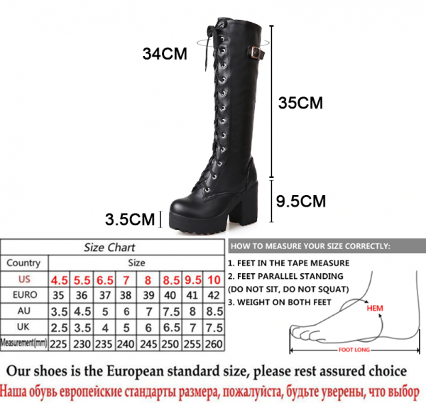 Gdgydh Hot Sale Spring Autumn Lacing Knee High Boots Women Fashion White Square Heel Woman Leather Shoes Winter Large Size 34-43 5