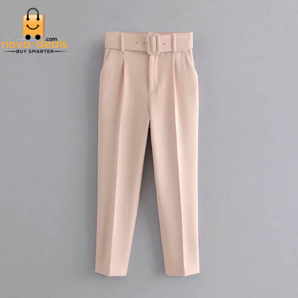 Tangada black suit pants woman high waist pants sashes pockets office ladies pants fashion middle aged pink yellow pants 6A22 2
