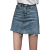 Duanyskiy Women Summer Black Blue Solid Casual High Waist Pencil Denim Skirts High Street Pockets Button All-matched Jeans Skirt 2
