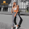 Dulzura flash reflective jogger pants 2018 autumn winter women casual gray solid streetwear trousers 4