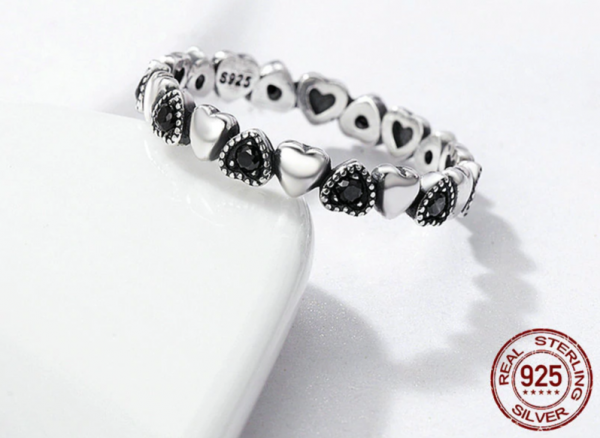 Real Silver Ring - Black CZ  4