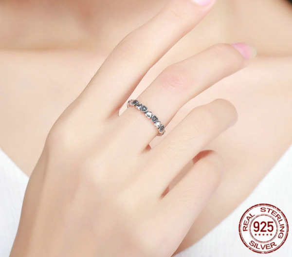Real Silver Ring - Black CZ  3