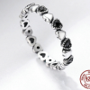 Real Silver Ring - Black CZ  5
