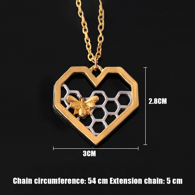 Dripping Honey Heart Bee Necklace Women Lady Fashion Accessories TT@88