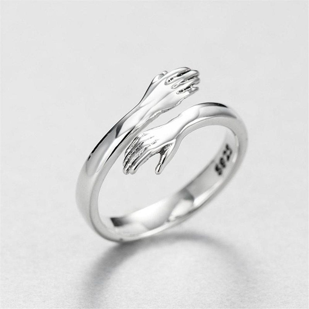 Romantic Adjustable Couple of Lovers' Rings Valentine's Day Anniversary Statement Ring Love Hug Confession Gift