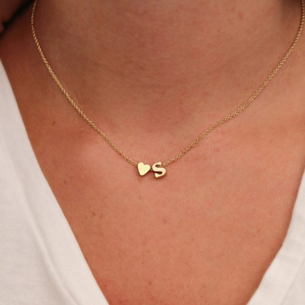 Gold Necklace with Letter